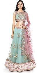 The Zeel Fashion Sky blue Color Net and bhaglpoori Anarkali Unstitched lehegas set
