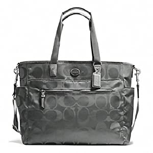 COACH Signature Nylon Baby Bag in Silver / Grey 77577 by Coach
