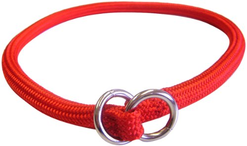 Hamilton 826 RD 5/16-Inch by 14-Inch Round Braided Choke Nylon Dog Collar, Red