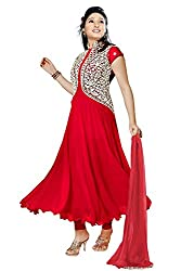 Salwarsaloon Women's Faux Georgette Dress Material (pankuri-red _Red)