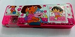 Fancy Medium size Pencil Box (Dora Cartoon) with Calculators & Dual Sharpener for kids