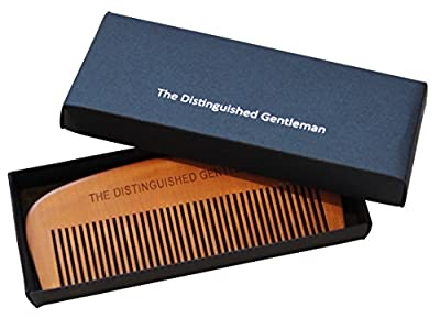 Beard Comb - Natural Pearwood - For A Tangle Free Beard - Great Piece Of Beard Grooming Kit - To Get The Best Look For Your Beard Use With The Distinguished Gentleman Beard Oil - Keep Your Beard Healthy And Well Maintained - Perfect Gift For Men - Male Gr