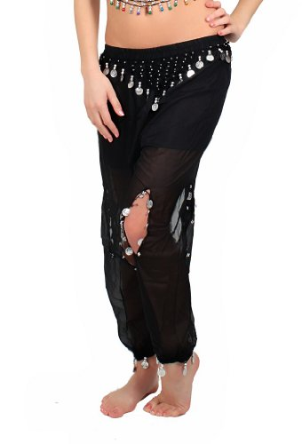 Chiffon Belly Dance Harem Pants Belly Dancing Costume Hip Scarf Belt Bead Coins