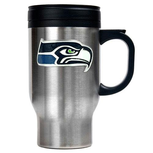 Seattle Seahawks Nfl 16Oz Stainless Steel Travel Mug - Primary Logo front-602198