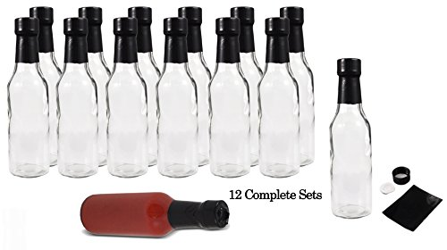 Empty Hot Sauce Woozy Bottles 5oz-(12 Complete Bottles) Complete Set of Dasher Bottles with Shrink Sleeve, Bottle, Cap, Dripper Insert (12 Pack) (Hot Sauce Glass Bottles compare prices)
