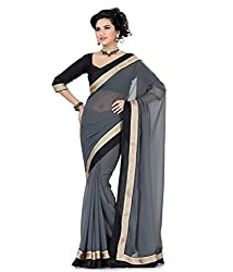 RockChin Fashions Grey chiffon saree with lace work