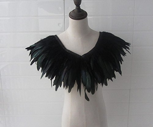 [32inch Long Black Hnadmade Feather Cape SHAWL Shrug Shoulders Halloween costume ,vintage capelet for] (Black Costumes Bonnet)