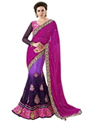 Jay Sarees Faux Georgette Purple Bollywood One Minute Saree