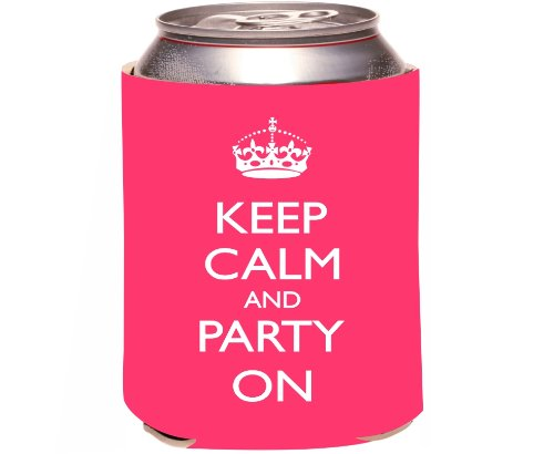 Rikki Knighttm Keep Calm And Party On - Tropical Pink Color Design Drinks Cooler Neoprene Koozie front-658803