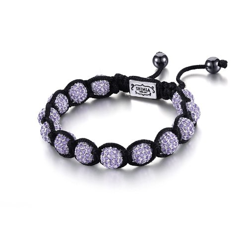 Shimla Crystal Bead Bracelet, Silver Plated Tanzanite Cubic Zirconia Crystal Beads with Hematite Beads of 7-12cm