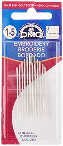 DMC 1765-1/5 Embroidery Hand Needles, 12-Pack, Size 1/5