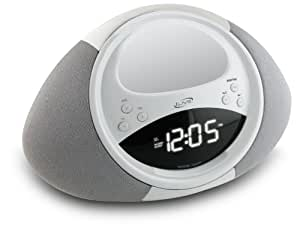 iLive ICP122W Clock Radio with Dock for iPhone/iPod, 20 FM Presets and LCD Display (White)