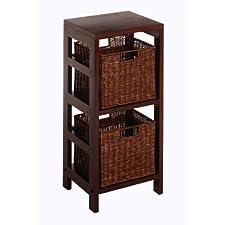 2 Tiered Shelf w/ 2 Rattan Baskets