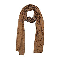 FabSeasons Brown Cotton Unisex Printed Scarf, Scarves, Stole and Shawl for Men & Women