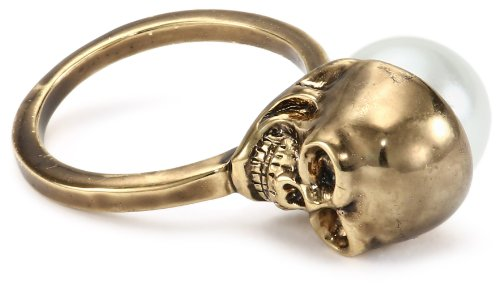 House of Harlow 1960 Skull and Simulated-Pearl Ring, Size 8