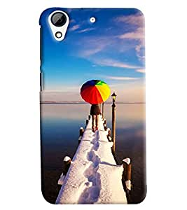 Blue Throat Girl With Umbrella Hard Plastic Printed Back Cover/Case For HTC Desire 626