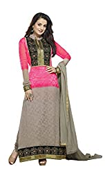 Adah Fashions Womens Georgette Anarkali Dress Material (449-5015 -Gra And Pink -Free Size)