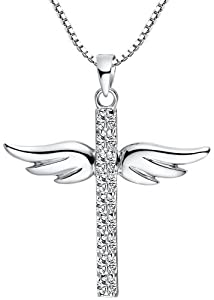 Sterling Silver Cubic Zirconia Angel Winged Cross Pendant Necklace with Box Chain 18 Inch