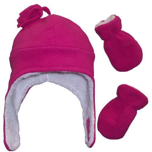 N'Ice Caps Girls Soft Sherpa Lined Micro Fleece Pilot Hat and Mitten Set (6-18 Months, Infant - Fuchsia)