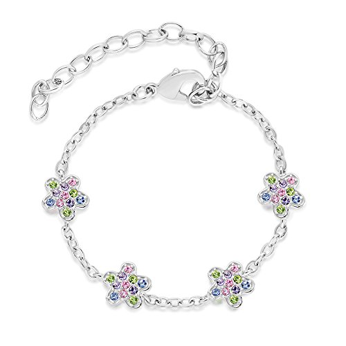 Kids 14K Gold Plated Classic Mixed Colors Flower Bracelet, Kids, Girls, Children, Baby, front-219302