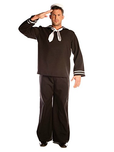 Underwraps Mens Military Sailor Complete Black Uniform Theme Fancy Costume