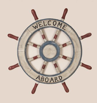 """Painted Ships Wheel 23"""" - Nautical Wooden - Captain Boat"""