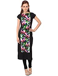 ZIYAA Black Colored Half Sleeve And Boat Neck Faux Crepe Kurti