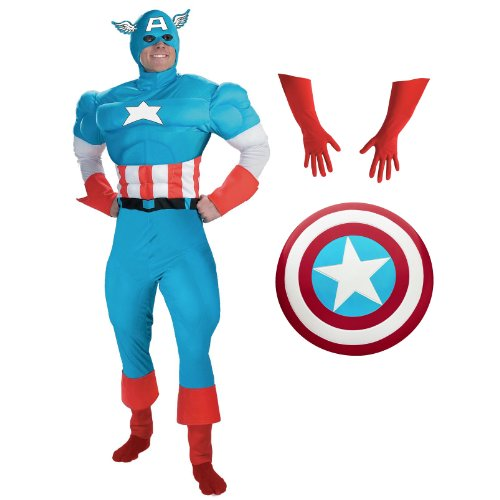 Complete Deluxe Captain America Teen Costume with Accessories