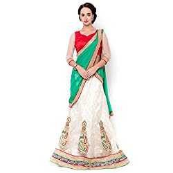 Suchi Fashion White Net And Jacquard Embroidered Circular Lehenga Choli