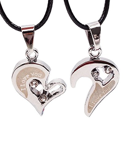 Young & Forever ♥♥ Valentine Gifts Special ♥♥ Message in charm we belong together Stainless steel Titanium soulmate love you valentines day gift for men and women jewelry lovers for Couple Necklace (One Pair) For Women By CrazeeMania