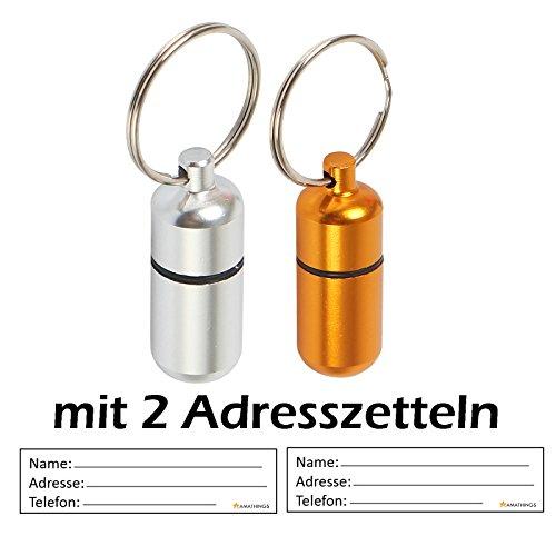 2er-Set-Adressanhnger-Mini-3-cm-Lnge-in-silber-und-gold-fr-groe-und-kleine-Hunde-und-Katzen-mit-Adressetiketten-wasserdicht-Pillendose-Adresshlse-von-amathings