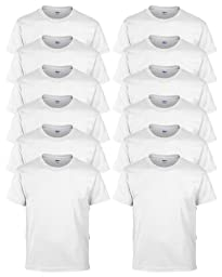 Gildan Poly Cotton Blend T-Shirt, White, Large. (Pack of 12)