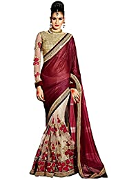 Active Women's Lycra & Net Embroidered Lace Border Half & Half Saree (Free Size)