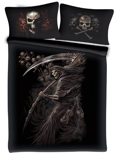 Spiral Direct Game Over You Lose Skeleton Gothic Double Bedding Set Black