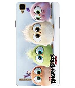 Snazzy Angry Bird Printed Colorful Hard Back Cover For Oppo F1 Selfie