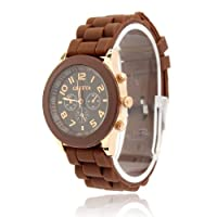 ZPS Unisex Geneva Silicone Jelly Gel Quartz Analog Sports Wrist Watch Hot Sale (Brown)