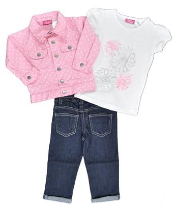 Sweet Vintage Infant Girls Pink Polka Dot Jacket 3Pc Denim Pant Set (12M)
