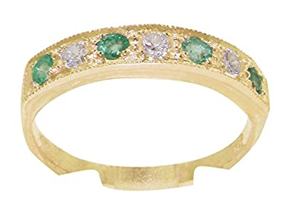 18ct Solid Yellow Gold Ladies 0.18ct Diamond & Emerald Ring - Finger Sizes J to Z Available