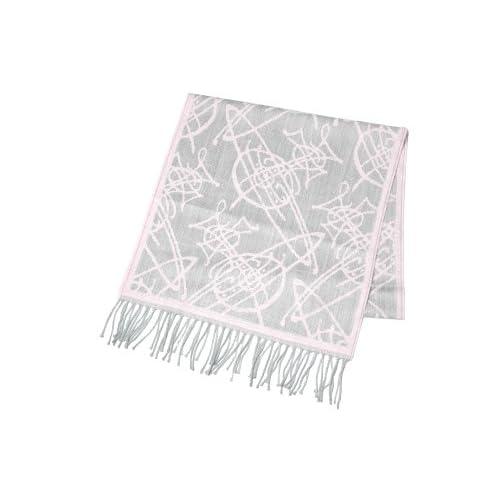 (ヴィヴィアンウエストウッド) Vivienne Westwood 落書き風オーヴデザインマフラー ライトグレー×ピンク [並行輸入品]