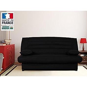 BULTEX Banquette clic-clac - 3 places - 193x95x101cm - Tissu 100% Polyester - Noir