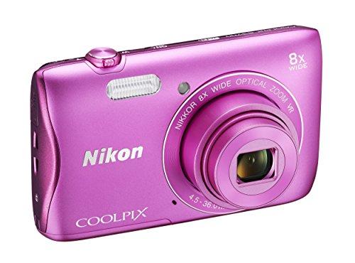 """Nikon Coolpix S3700 Fotocamera Digitale Compatta, 20 Megapixel, Zoom 8X, 3200 ISO, LCD 2,7"""", HD, colore: rosa [Nital card: 4 anni di garanzia]"""