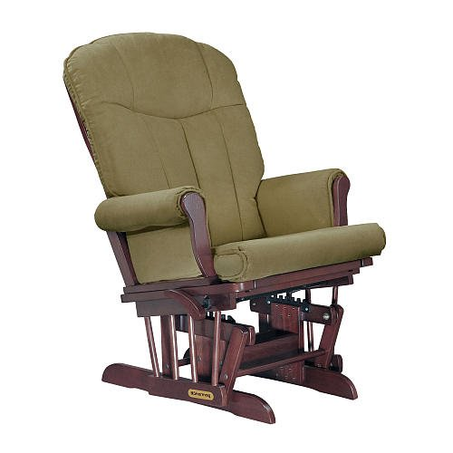 Shermag Deluxe Glider Cherry Finish With Lichen Fabric front-657229
