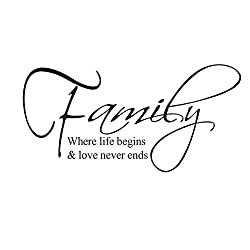 MZY LLC (TM) Family where life begins and love never ends Vinyl Art Quotes Removable Wall Decal Sticker Decor