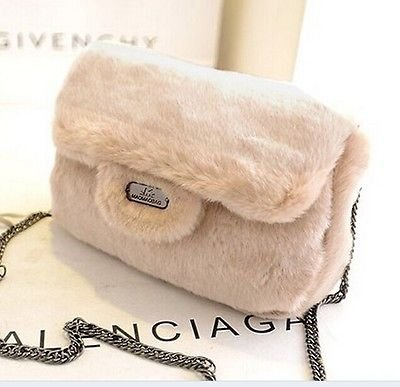 Deluxe Lady Women Handbag Shoulder Bags Tote Purse Satchel Women Messenger Hobo Fur Bag Beige