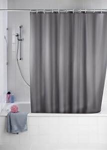 Wenko 20044100 Anti-Schimmel Duschvorhang Uni Grey - Anti-Bakteriell, waschbar, mit 12 Duschvorhangringen, Kunststoff - Polyester,  cm, Grau