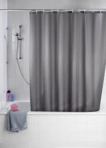 WENKO 20044100 Anti-Schimmel Duschvorhang Uni Grey - Anti-Bakteriell, waschbar, mit 12 Duschvorhangringen, 100 % Polyester, Grau