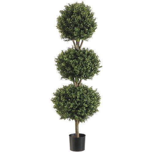 Silk Decor 4-Feet Tri Ball Boxwood Topiary Plant, Green/Two-tone