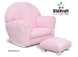 Kidkraft Upholstered Rocker With Ottoman Pink Chenille by KidKraft