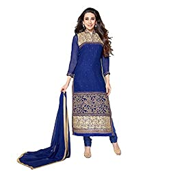 Parabdhani Fashion Women's Georgette Semi Stitched Suit (PBF_DM_117_Blue_Free Size)