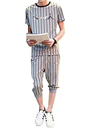 Men\'s Teen Boys Casual Jogger Sets Short Sleeve T-shirt Pants Striped Pullover Sweatshirts Tracksuit Sports Sets